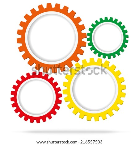 Abstract color gear wheels. Design template - stock vector
