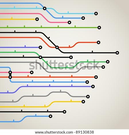 Abstract color metro scheme background - stock vector