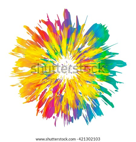 Abstract color splash and isolated flower illustration. - stock vector