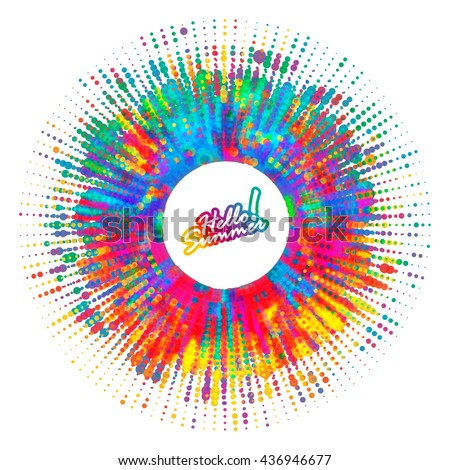 Abstract color splash, spray background. Artistic ad banner design for your message. Hello Summer! - stock vector