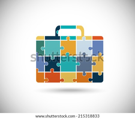 Abstract color suitcase built of puzzle pieces - stock vector