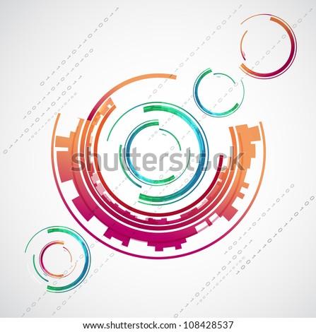 Abstract color technology circles. Vector - stock vector