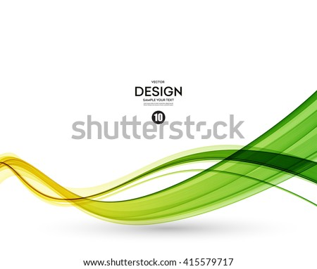 Abstract color wave design element. Yellow and green wave - stock vector