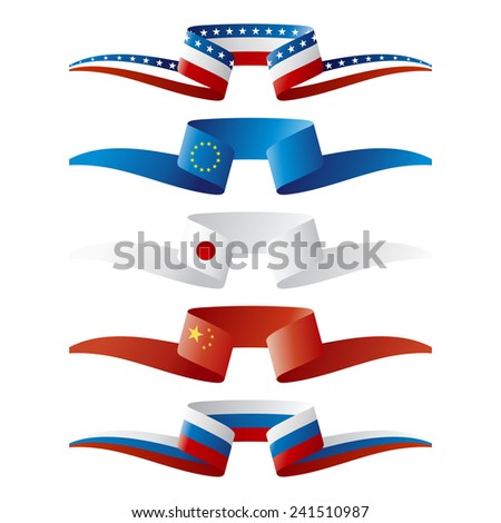 Abstract color World power flags ribbon - stock vector