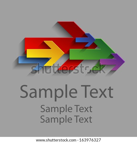 Abstract colored arrows pointing to the right - stock vector