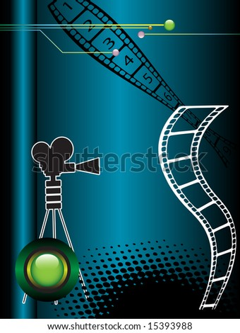 Abstract colored background with movie camera shape and distorted film strip - stock vector