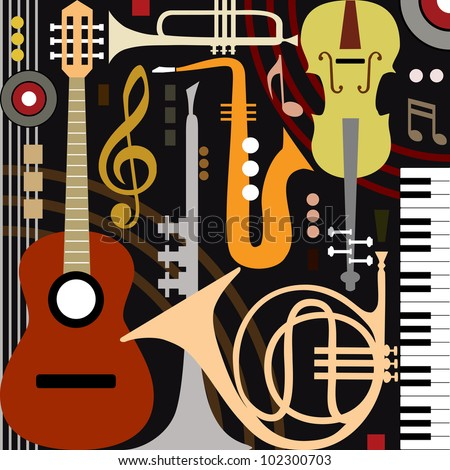 Abstract colored music instruments, full scalable vector graphic, change the colors as you like. - stock vector