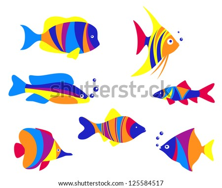 Abstract colorful aquarium fishes set isolated on white background. Jpeg version also available in gallery - stock vector