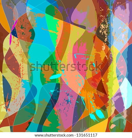 abstract colorful background composition, with strokes, splashes and waves - stock vector