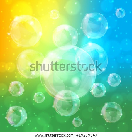 Abstract colorful background of bubbles and bokeh, vector illustration - stock vector