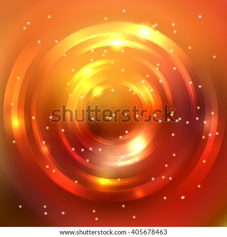 Abstract colorful background, Shining circle tunnel. Elegant modern geometric wallpaper.   Vector  illustration. Yellow, orange colors.  - stock vector