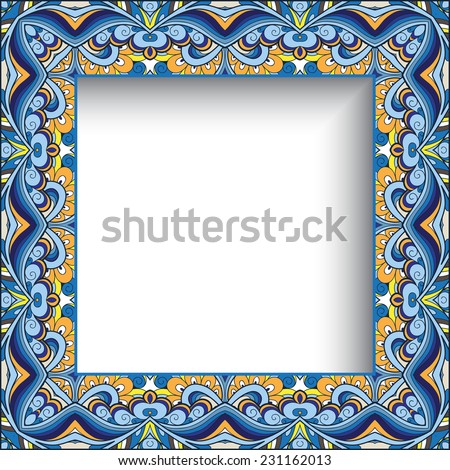 Abstract colorful background, vector ornamental square picture or photo frame, eps10  - stock vector