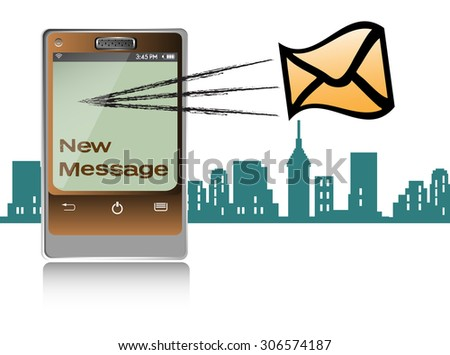 Abstract colorful background with a brown smartphone receiving a message - stock vector