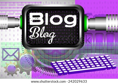 Abstract colorful background with computer keyboard, screen and the text blog written on the screen with white letters - stock vector