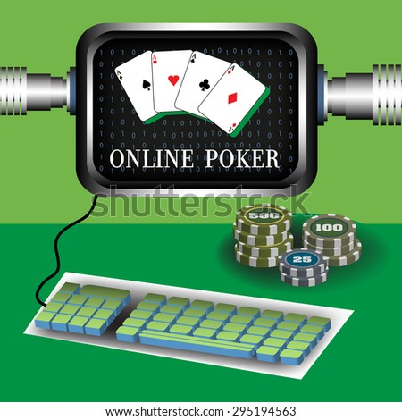 Abstract colorful background with computer screen, keyboard and poker chips. Online poker concept - stock vector