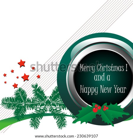 Abstract colorful background with green spherical element, red stars, green fir branches, mistletoe and the text Merry Christmas and a Happy New Year written with white letters - stock vector