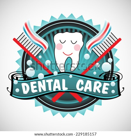 Abstract colorful background with happy tooth standing between two toothbrushes. Dental care concept - stock vector