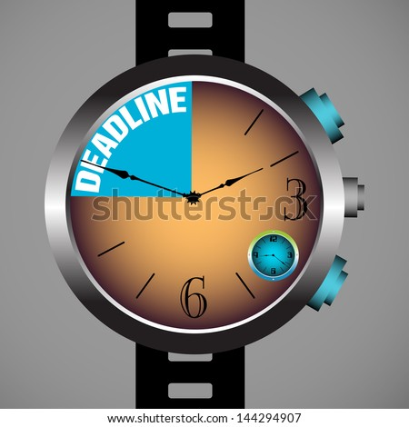 Abstract colorful background with modern hand watch and the text deadline written inside the watch - stock vector