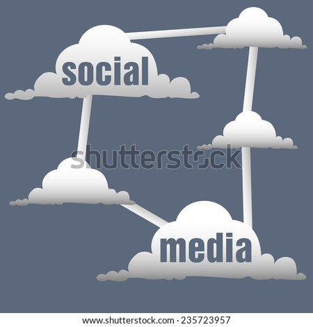 Abstract colorful background with more clouds connected between each other. Social media concept - stock vector