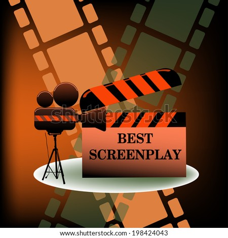 Abstract colorful background with movie projector and the text best screenplay written on a clapboard. Cinema theme - stock vector