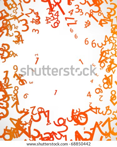 Abstract Colorful Background with numbers. - stock vector