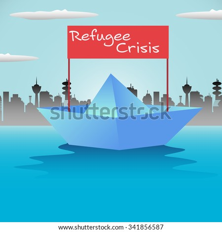 Abstract colorful background with paper boat and the text refugee crisis coming out from the boat - stock vector