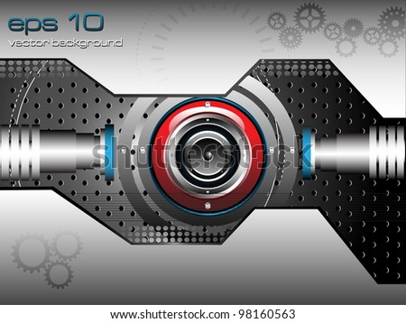 Abstract colorful background with red loudspeaker on metallic background. High tech design - stock vector