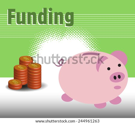 Abstract colorful background with stack of coins and piggy bank. Funding concept - stock vector