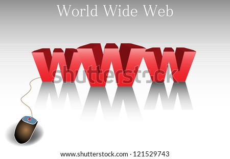 Abstract colorful background with three huge w letters written in red and connected to a computer mouse. World wide web concept - stock vector