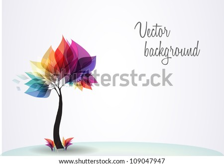 Abstract colorful background with tree. Vector. EPS 10 - stock vector