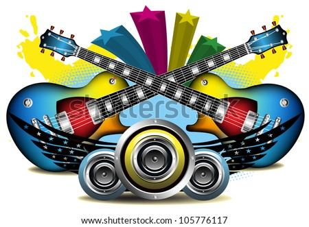 Abstract colorful background with two crossed electric guitars, loudspeakers and black wings - stock vector