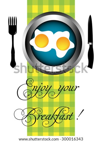 Abstract colorful background with two fried eggs on a plate and the text enjoy your breakfast written bellow with handwritten letters - stock vector