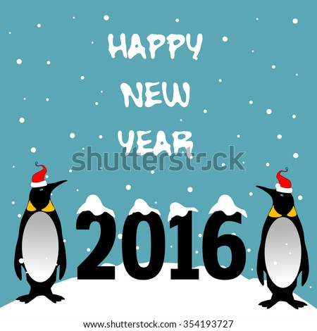 Abstract colorful background with two penguins with red caps standing near the number 2016 and the text Happy New Year written with white letters - stock vector