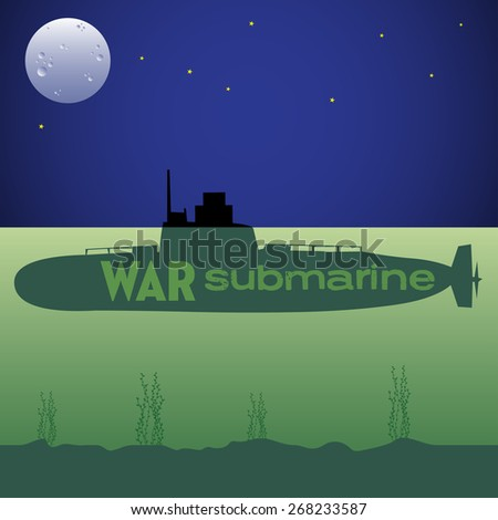 Abstract colorful background with war submarine sinking under the water during the night - stock vector