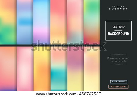 Abstract colorful blurred vector backgrounds. Elements for your website or presentation. Set with many  beautiful colors: gold, blue, red, yellow, pink, green, violet and many other colors and tones. - stock vector