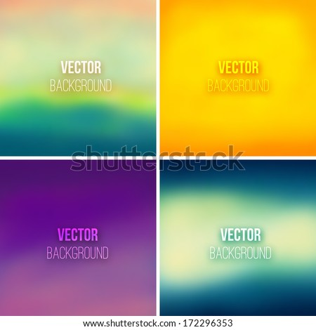 Abstract colorful blurred vector backgrounds set 6 - stock vector