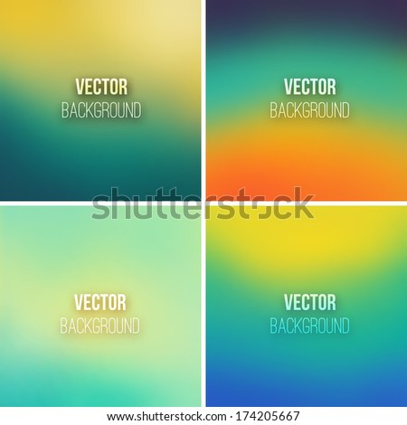 Abstract colorful blurred vector backgrounds set 11 - stock vector