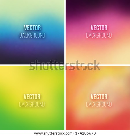 Abstract colorful blurred vector backgrounds set 10 - stock vector