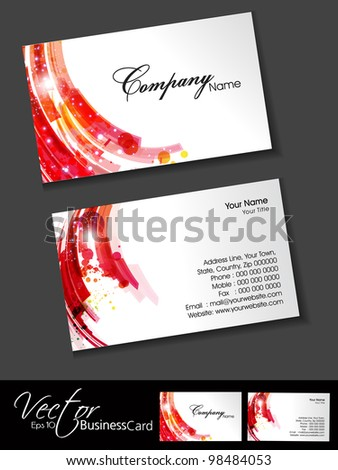 Abstract colorful bright color professional and designer business card set or visiting card set. EPS 10. Vector illustration. - stock vector