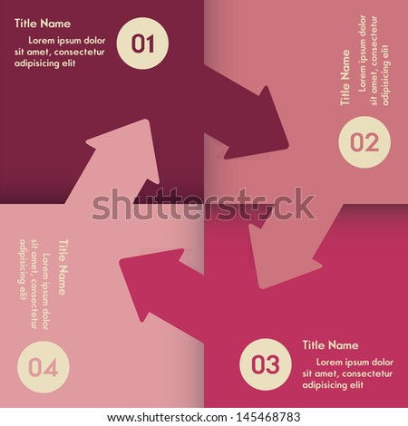 Abstract colorful circle of one two three four step. Vector. - stock vector