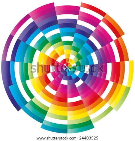 Abstract colorful circle ornament - stock vector