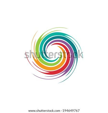 Abstract colorful circle swirl image logo. Concept of hurricane, twister, tornado. Vector icon. - stock vector