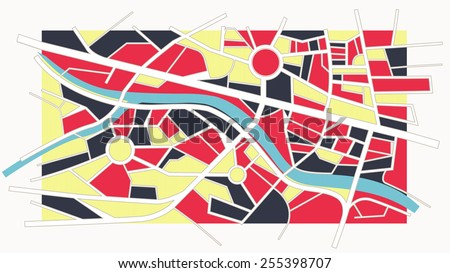 Abstract colorful city map with river, streets and roundabouts, vintage style - stock vector
