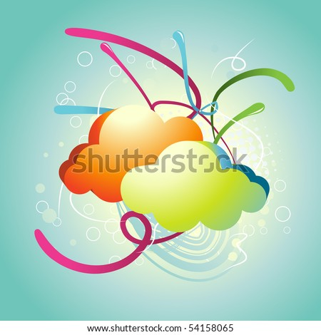 abstract colorful cloud vector illustration - stock vector