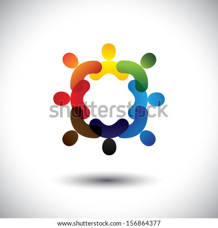 Abstract colorful community people icons in circle- vector graphic. This icon illustration can also represent concept of children playing together or friendship or team building or group activity,etc  - stock vector