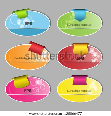 Abstract colorful creative modern vector web design set with pattern and tab - stock vector