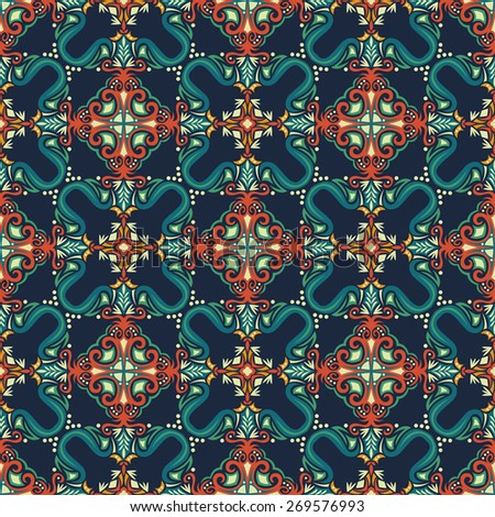 Abstract Colorful Damask Seamless Vector Background - stock vector