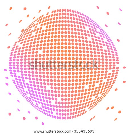 Abstract colorful dotted halftone effect vector sphere background - stock vector