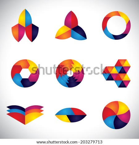 abstract colorful element design vector icons made of circles, polygons.  - stock vector