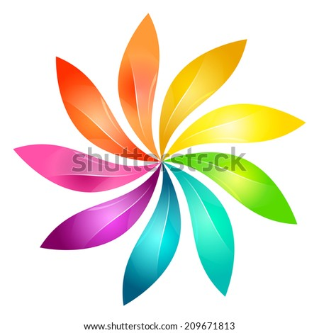 Abstract colorful floral sign  - stock vector